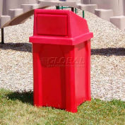 32 Gal. Square Receptacle, Dome Top, Liner - Red