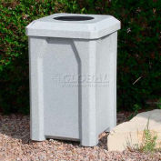 "32 Gal. Square Receptacle 10"" Recycle Lid, Liner - Gray Granite"
