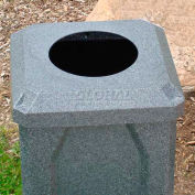 """32 Gal. Square Receptacle 10"""" Recycle Lid, Liner - White"""