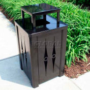 32 Gal. Square Metal Receptacle, w/Covered Top, Liner - Powder Coated Black