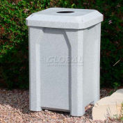 """32 Gal. Square Receptacle 4"""" Recycle Lid, Liner - White"""