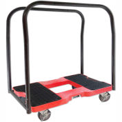 """Snap-Loc® SL1500PC4R Panel Cart Dolly Red 1,500 Lb. Cap., Steel Frame, Strap Option, 4"""" Casters"""