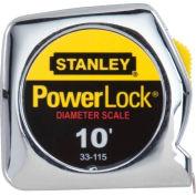 """Stanley® 33-115, PowerLock® Pocket Tape Rule W/Dia. Scale 1/4"""" x 10'"""
