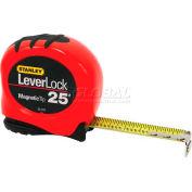 "Stanley® 33-270, Leverlock® Fractional Tape Rule 1"" X 25' W/Magnetic Tip, Orange"
