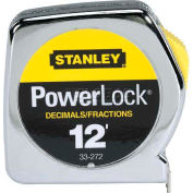 "Stanley 33-272 PowerLock® Decimal Tape Rule W/Metal Case 1/2"" x 12'"