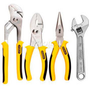 Stanley 84-558 4 Piece Plier & Wrench Set (Long Nose, Slip Joint, Tongue & Groove, Adj. Wrench)