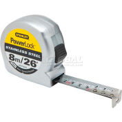"Stanley STHT33457 Stht33457, Powerlock® Stainless Steel Tape 3/4"" X 8m/26' - Pkg Qty 4"