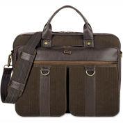 """SOLO® Bradford Briefcase w/ Zipper, 15.6"""", 16 X 3-3/4 X 12, Espresso"""