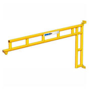 250 lb., 14' span, Spanco 501 Series, Steel, Wall Mounted Jib Crane, Cantilever Design with Trolley