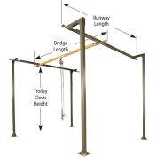 1/4 Ton, Spanco, Bridge Crane, 12' Bridge Length, 8' Runway Length, 10' Ht, 4 Col., No Header Req