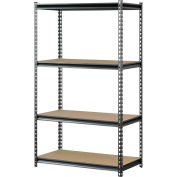 "Muscle Rack UR361860PB4P-SV, Z-Beam Boltless Shelving, 36""W x 18""D x 60""H, 4-Shelf w/Wood Deck"