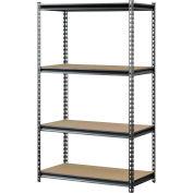 "Muscle Rack UR361860PB4P-SV, Z-Beam Boltless Shelving, 36""W x 18""D x 60""H, 4-Shelf w/Wood Deck"