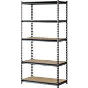 "Muscle Rack UR361872PB5P-SV, Z-Beam Boltless Shelving, 36""W x 18""D x 72""H, 5-Shelf w/Wood Deck"