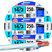 Southwire 63946855 Romex Cable with Ground, White, 14/3 Awg, 250 ft