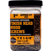 "#7 Bronze Star FSC7158-1 Finish Head Star Drive Screws 1-5/8""L, 1lb. Carton - Made In USA"