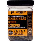 """#7 Bronze Star FSC7158-5 Finish Head Star Drive Screws 1-5/8""""L, 5lb. Carton - Made In USA"""