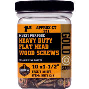 "Screw Products HDY105-1 - #10 Gold Star Heavy Duty Star Drive Wood Screws, 5""L, 1lb. Carton - USA"
