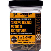 "#9 Bronze Star THBTX-09212-1 Trim Head Star Drive Screws, 2-1/2""L, 1lb. Carton - Made In USA"