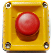 T.E.R., F71EY10000000003 VICTOR Wall Mount Control Station, Yellow, 1 Hole, Momentary E-Stop