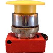 Springer Controls N5CEM4RN, Mushroom Head - Momentary  Push-Button Black - Shown in Yellow