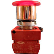 Springer Controls N5CET4AL110-120, Illuminated Mushroom Head, Push-Pull (120V 1N.O) - Amber