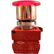 22mm Mushroom Head Pushbutton, chrome bezel, 3 pos; maint. push, momentary pull, red, illuminated