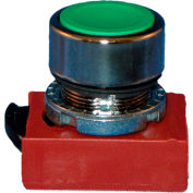 Springer Controls N5CPNVG10, Flush-Momentary Push-Button Green, w/ Contact
