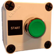 22mm Push Button Station; Single Element, Start (Green), Momentary, Chrome Bezel, NO contact, N4X