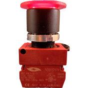 Springer Controls N5XEM4RL01-120, Illuminated Mushroom Head, Momentary (120V 1N.C.) - Red