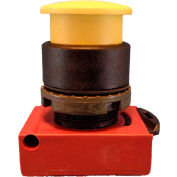 Springer Controls N5XER3RN, Mushroom Head - Push-Button with Latch Red - Shown in Yellow