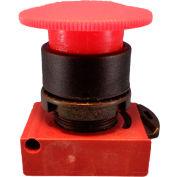 22mm Mushroom Head Pushbutton, black bezel 4x, turn to reset, head, red, non-illuminated.