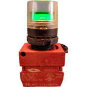 Springer Controls N5XPLVED, Illuminated Push Button, Momentary, Guarded - Green