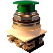Springer Controls N7EM3R02, 30 mm Mushroom-Head, 2 Normally Closed, Momentary, Green