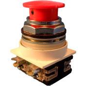 Springer Controls N7ER3R00, 30mm Mushroom-Head, No Contacts Included, Twist-Release, Red
