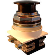 Springer Controls N7ET3N11,30 mm Mushroom-Head,1 Norm. Open,1 Norm. Closed,Push-Pull Maint.,Black