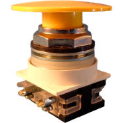 Springer Controls N7ET6G20, 30 mm Mushroom-Head, 2 Normally Open, Push-Pull Maintained, Yellow