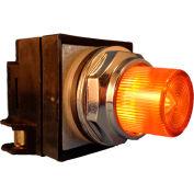 Springer Controls N7PLSAR10-120, 30mm Illum. Push-Button, Extended, Momentary, 120V, 1 N.O., Amber