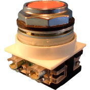 Springer Controls N7PNGA01, 30 mm Flush Push Button, 1 Normally Closed, Momentary, Amber