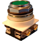 Springer Controls N7PNGV00, 30 mm Flush Push Button, No Contacts Included, Momentary, Green