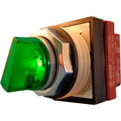 Springer Controls N7SLLVDD00,30mm Illum. 3-Pos. Selector,1-0-2,Maintained,24V,1 N.O. 1 N.C.,Green