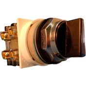 Springer Controls N7SMEN511, 30mm 3-Pos. Sel., 1-0-2, Spring Return Rt to Center, 1 N.O. 1 N.C., Blk