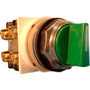 Springer Controls N7SMLV011, 30mm 3-Pos. Selector, 1-0-2, Maintained, 1 N.O. 1 N.C., Green