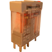 RelayGo RF2110LN024D,Interface Relay w/LED & Gold Plated Contacts,5A Switch,24VDC,DPDT,9-Blade
