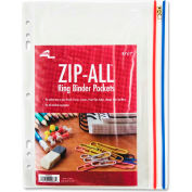 """Anglers® Zip-All Ring Binder Pockets, 8-1/2""""W x 11""""H, Clear, 1/PK"""