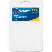 "Avery® Permanent Reinforcement Labels, 1/4""W x 1/4""H, White, 560/PK"
