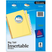 "Avery WorkSaver Big Tab Insertable Divider, Blank, 8.5""x11"", 8 Tabs, Clear"