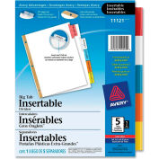 """Avery WorkSaver Big Tab Insertable Tab Divider, Blank, 8.5""""x11"""", 5 Tabs, White/Multicolor"""