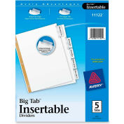 "Avery WorkSaver Big Tab Insertable Tab Divider, Print-on, 8.5""x11"", 5 Tabs, White"