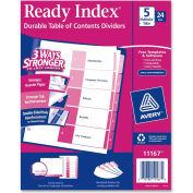 """Avery Uncollated Index Divider, Printed 1 to 5, 8.5""""x11"""", 5 Tabs, 24 Sets, White/Multicolor"""