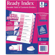 """Avery Uncollated Index Divider, Printed 1 to 8, 8.5""""x11"""", 8 Tabs, 24 Sets, White/Multicolor"""